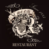 Menu design for restaurant in royal style with hand drawn deer, Stock Image