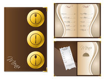 Menu design for restaurants. In brown color with gold elements Stock Photography