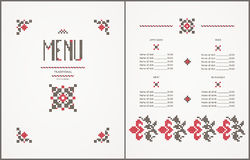 Menu design- traditional embroidered elements Royalty Free Stock Images