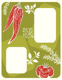 Menu Design With Vegetables And Herbs Silhouettes Stock Image