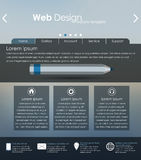 Menu design for web site. With different interface elements. Template, blurred background Royalty Free Stock Photo