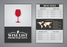 Menu Design for wine cafes, restaurants Stock Images