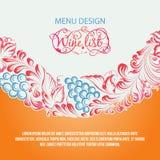 Menu design wine list. Menu design wine list with wave line. Vector illustration stock illustration