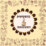 Menu for dessert background. Sweets and Bakery Stock Photo