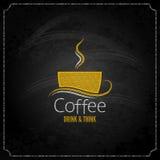 Menu di concetto dell'etichetta del gesso della tazza di caffè Fotografie Stock Libere da Diritti
