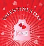Menu di giorno del biglietto di S. Valentino Immagini Stock Libere da Diritti