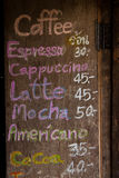 Menu di legno del caffè della scheda Fotografie Stock