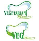menu di simbolo del veg e del vegetariano Fotografie Stock