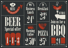 Menu with different dishes Royalty Free Stock Photos