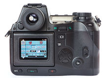 Menu of digital photo camera. Back view isolated royalty free stock images