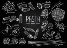 Menu disegnato a mano della pasta di vettore Linea d'annata illust del chalkborad di arte Fotografie Stock Libere da Diritti