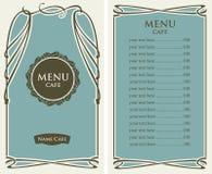 Menu dla kawiarni z ceny listą i curlicues ramą ilustracja wektor