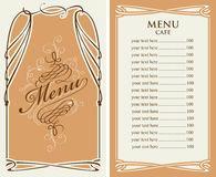 Menu dla kawiarni z ceny listą i curlicues ramą ilustracji