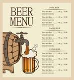 Menu dla piwa Zdjęcia Stock