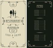 Menu dla restauraci z ceny flatware i listą ilustracja wektor