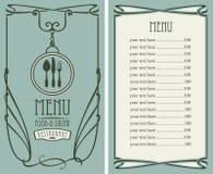 Menu dla restauraci z ceny flatware i listą ilustracji