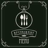 Menu dla restauraci z flatware i curlicues ilustracji