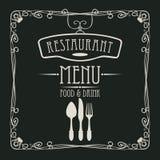 Menu dla restauraci z flatware i curlicues ilustracja wektor