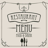Menu dla restauraci z flatware i curlicues royalty ilustracja