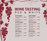 Menu dla wino degustaci deseniował wiązkę winogrona Fotografia Royalty Free