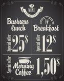 Menu do almoço de negócio Fotos de Stock