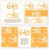 Menu do café com projeto tirado mão Molde do menu do restaurante da sobremesa Grupo de cartões para a identidade corporativa Ilus Fotos de Stock Royalty Free