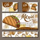 Menu do café com projeto tirado mão Molde do menu do restaurante do fast food com taco Grupo de cartões para a identidade corpora Fotografia de Stock Royalty Free