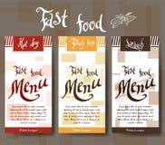 Menu do café com projeto tirado mão Molde do menu do restaurante do fast food Grupo de cartões para a identidade corporativa Ilus Fotografia de Stock
