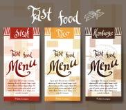 Menu do café com projeto tirado mão Molde do menu do restaurante do fast food Grupo de cartões para a identidade corporativa Ilus Imagens de Stock