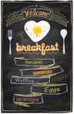 Menu do café da manhã do giz. ilustração stock