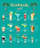 Menu do cocktail, que consiste em bebidas populares Fotografia de Stock Royalty Free