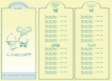 Menu do cozinheiro chefe do restaurante no fundo azul Fotografia de Stock Royalty Free