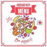 Menu do esboço do café da manhã Foto de Stock