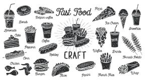 Menu do fast food ilustração do vetor