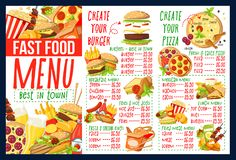 Menu do fast food com os ingredientes do hamburguer e da pizza ilustração royalty free