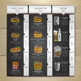 Menu do fast food do desenho de giz do vintage Esboço do sanduíche Imagem de Stock Royalty Free