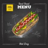 Menu do fast food do desenho de giz do vintage Sanduíche Fotos de Stock Royalty Free