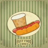 Menu do fast food do vintage Imagens de Stock Royalty Free