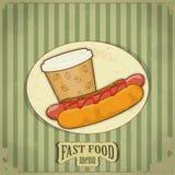 Menu do fast food do vintage Imagens de Stock Royalty Free