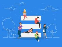 Menu do Hamburger e na ilustração móvel do conceito do uso do uso do Web site ilustração stock