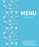 Menu do restaurante do alimento de mar Projeto do molde do marisco, pratos de peixes Ilustração do vetor Fotos de Stock Royalty Free