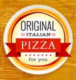 Menu do restaurante do vetor com pizza Fotografia de Stock Royalty Free