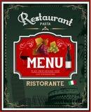 Menu do restaurante do vintage e projeto italianos do cartaz Imagem de Stock