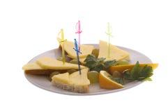 Menu do restaurante: pão e queijo foto de stock
