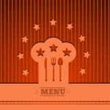 Menu do sinal do chapéu do cozinheiro chefe do fundo que cozinha o vetor alaranjado eps 1 do símbolo Fotografia de Stock Royalty Free