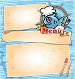 Menu dos desenhos animados do cozinheiro chefe dos peixes Foto de Stock Royalty Free
