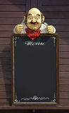 Menu Dummy. Vintage menu frame with hungry dummy isolated in black Stock Photo