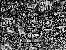 Menu e pasta del pesce fotografia stock
