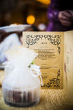 Menu on elegant Dining Table. Dining table for wedding reception party Stock Photos