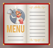 Menu Elite Restaurant Chef Cook Serving Food 3d Cartoon Mascot Character Design Vector Illustrator. Menu Elite Restaurant Chef Cook Serving 3d Food Cartoon Royalty Free Stock Images